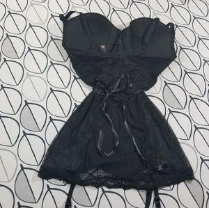 Victoria's Secret Intimates & Sleepwear - Victoria's Secret Black Sparkle Teddy Slip Dress